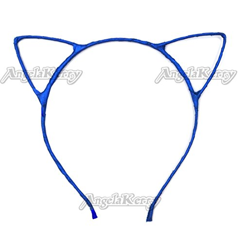 AngelaKerry 20pcs Blue Cat Ear Girl Metal Headbands Satin Ribbon Hairbands for Girl's Birthday Party DIY (Blue , Pack of 20pcs)