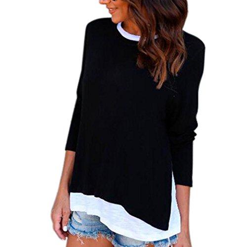 Rhinestone Trim Sweater - IEason Women top Women Long Sleeve Loose Button Trim Blouse Patchwork Round Neck Tunic T-Shirt (Black 2, L)