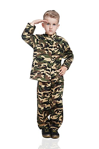 Kids Army Boy Halloween Costume Military Soldier Recruit Camo Dress Up & Role Play (3-6 years, khaki) (Three Guys Halloween Ideas)