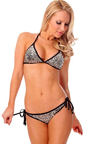 Dippin' Daisy's Silver Sequin Triangle Scrunch Butt Bikini with Black Trim Size M (Sequin Triangle)