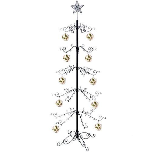HOHIYA Artificial Christmas Tree Xmas Ornament Display Stand Metal 7 to 8 Feet(Black)