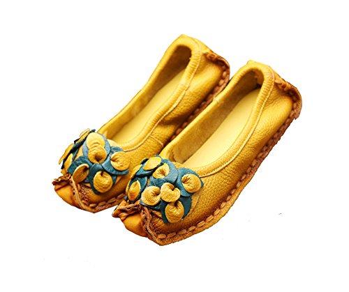 Verocara Mujeres New Leather Tradicional Características Nacionales Flor Zapatos Planos Informales Conducción Mocasines Amarillo