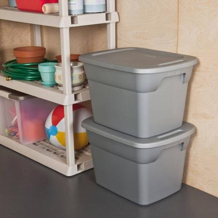 Case of 8, 18 Gallon Durable Construction Molded-in Handles Tote Box- Steel, Gray ()