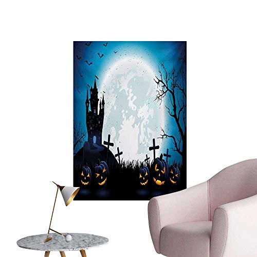 Anzhutwelve Halloween Corridor/Indoor/Living Room Spooky Concept with Scary Icons Old Celtic Harvest Figures in Dark Image Holiday PrintBlue W32 xL48 The Office Poster ()
