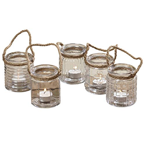 The Beach Chic Nautical Rope Hurricane Lamps, Case Pack with 40 Pieces,Clear Glass Candle Holder, for LED or Wax Votive, Pillar or Tealights, Wind Light, 2 ¾ x 2 ¾ x 3 ½ Inches, Glass, By WHW