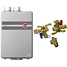 Rheem RTGH-95DVLN 9.5 GPM Indoor Direct Vent Tankless Natural Gas Water Heater & Webstone 44443WPR 3/4-Inch IPS Isolator EXP E2 Tankless Water Heater Service Valve Kit with Clean Brass Construction