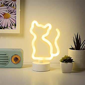 Night Light Merkury Innovations 8 inch LED Neon YellowLit Sign Mood Light with Pedestal,Battery Operated Wall Art,Bedroom Decorations,Lamp,Home Accessories,Party and Holiday Decor:Neon Yellow