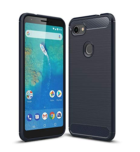 Google Pixel 3a XL Case, Cruzerlite Carbon Fiber Texture Design & Leather Texture Design Back Cover Anti-Scratch Shock Absorption Case for Google Pixel 3a XL (Blue)