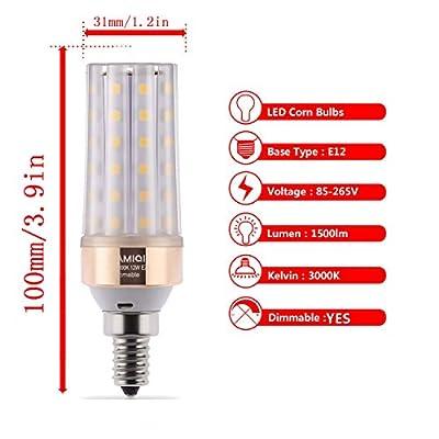 ILAMIQI E12 LED Bulbs 10W Dimmable,100 Watt Equivalent, 1200lm, LED Chandelier Bulbs,Tubular,Frost,Flicker Free.