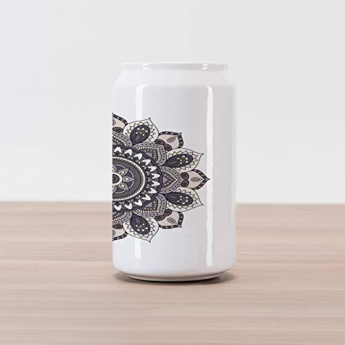 Ambesonne Ethnic Cola Can Shape Piggy Bank, Oriental Mandala Flower Vintage Boho Abstract Round Yoga Motif, Ceramic Cola Shaped Coin Box Money Bank for Cash Saving, Purple Grey Taupe and Eggshell