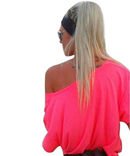 T Uni Chic Femme Ete en Courte a Casual Epaule Mode Col Lace Chemiser Chemise Couleur Tunique Manche Shirt Asymetrique Volant Pull Sexy Haut Bateau Top Denudee Jumpers Shirt de Sweatshirt Rose Blouse TZEx0