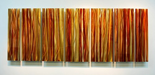 Extra Large Contemporary Abstract Yellow, Orange Earth Toned Hand-Painted Metal Wall