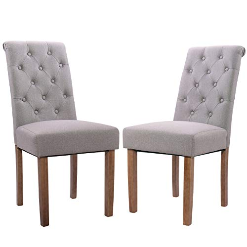 Cypress Shop High Back Chair Tufted Parsons Dining Chair Set Backrest Accent Upholstered Chairs Button Fabric Dining Restaurant Kitchen Chair Soft Padded with Rubber Wood Legs Hoe Furniture Set of 2 (Velvet Crushed Chair Tub)
