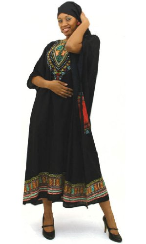 One Size Traditional Kaftan Caftan - Many Colors Available (Black)