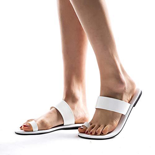 Womens Leather Slip On Beach Flip Flops Shoes Strap Gladiator Toe Loop Flat Sandals (US:6, White)