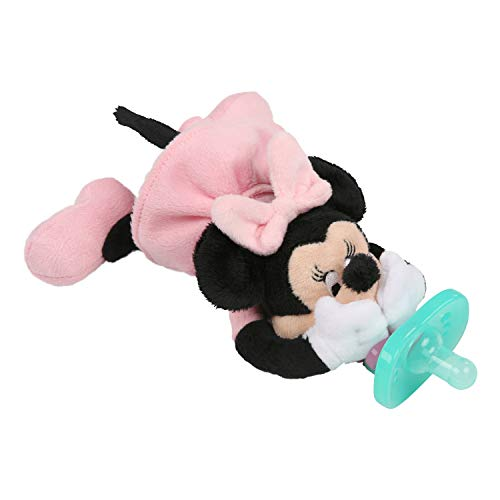 Newborn Disney Pacifier - Bright Starts Disney Baby Cozy Coo Soothing BPA-Free Pacifier with Plush Toy - Minnie Mouse, Ages Newborn +