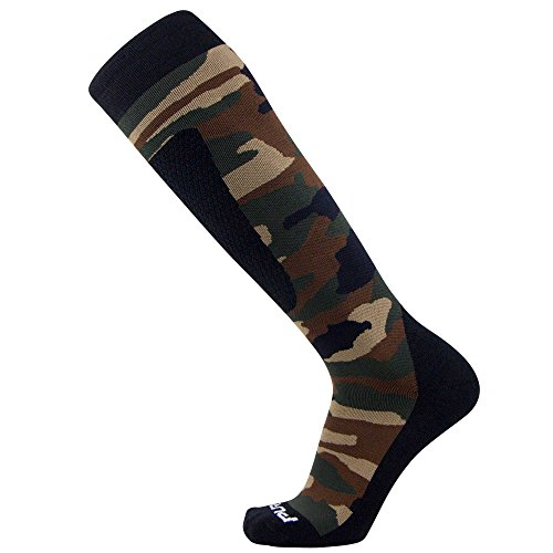 Midweight Camo Snowboard Socks - Merino Wool Winter Cold Weather OTC Ski Sock - Great for Snowboarding, Skiing, Snow Shoeing, Outdoors (M, Army Green) (Best Snow Socks Review)