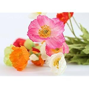 LUCKUP 3 stems Beautiful Artificial Poppy Silk Flowers Home Wedding Decoration Gift 119