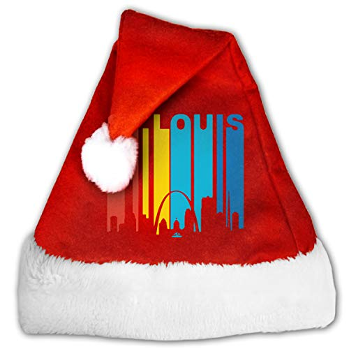 Red And White Santa Hat, Cute Retro 1970's St. Louis Missouri Skyline Christmas Beanie For Childrens And Adults]()