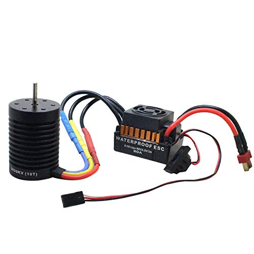 Hot  Fit 1/10 RC Car CNC Machined 4-Pole 12-Slot Hi-Torque Motor Design 10T KV3930 4 Poles Brushless Motor + Waterproof 60A Car Brushless ESC by Hisoul (Image #9)