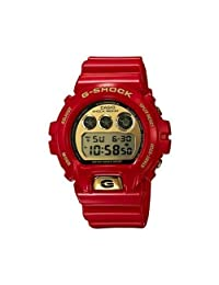 Casio DW6930A-4 Mens G-Shock Red Resin Gold LCD Digital Dial Watch