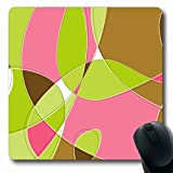 Ahawoso Mousepads for Computers Colors Brown Modern Retro Swirl Loopy Scroll Pink Clip Green Pattern Design Oblong Shape 7.9 x 9.5 Inches Non-Slip Oblong Gaming Mouse Pad
