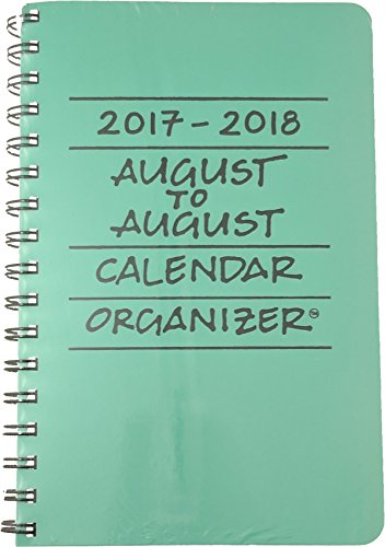 2017-2018 August to August Calendar Organizer- Mint (Light Green)