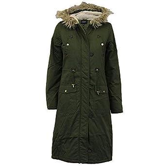 sale retailer 51252 cee4a Brave Soul Damen Parka Gefüttert Kapuze Sherpa Fleece Lang Jacke