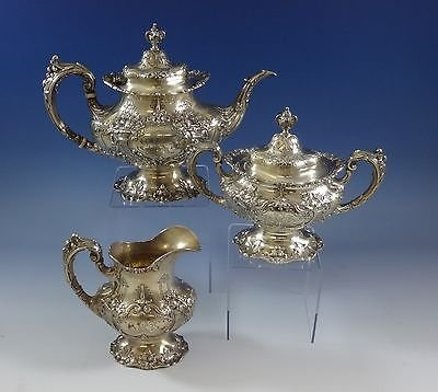 - Francis I by Reed & Barton Sterling Silver Tea Set 3pc Pot Creamer Sugar #0955