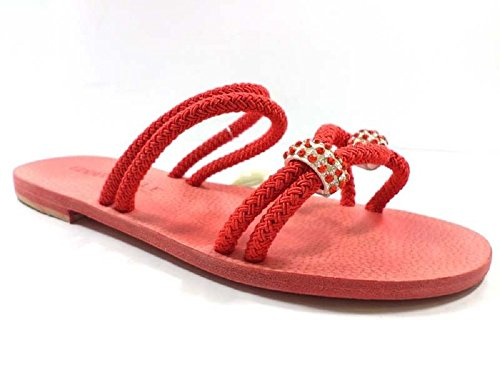Eddy Daniele 37 EU Sandalias Mujer Rojo Cuerda/Cristales Swarovski AX785 wkdOoq5ru
