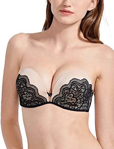 (DOBREVA Women's Push Up T-Shirt Lace Strapless Bra Underwired Add-2-Cup Bras Multicoloured #1 36B)