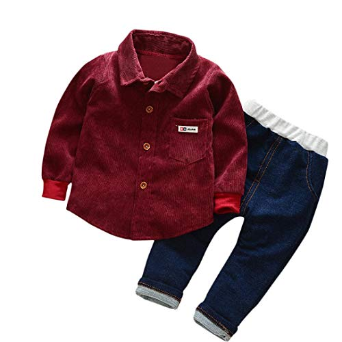 Fashion Boys' Long Sleeve Shirt Jacket and Denim Pants Two Piece Set (age:3-6month, Wine) by InMarry