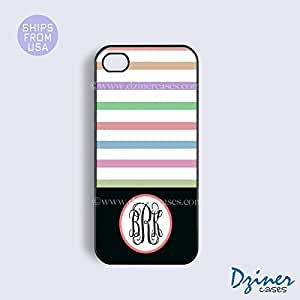 Monogram iPhone 5c Case - Colorful Stripes Black Bottom iPhone Cover
