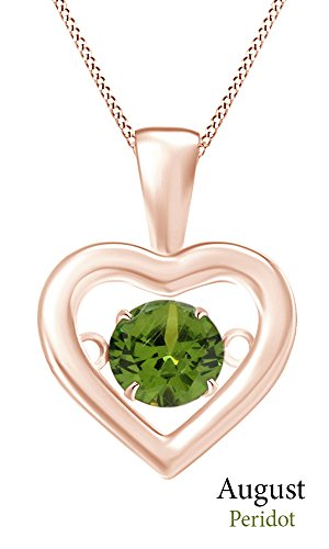 Jewel Zone US Dancing Simulated Peridot Love Heart Pendant Necklace In 14K Rose Gold Over Sterling Silver ()