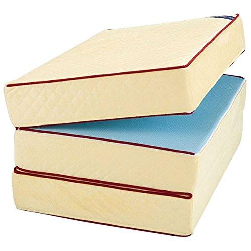 マットレス関連 おしゃれ 三つ折りマットレス 【厚さ10cm ダブルサイズ】 硬質タイプ 洗えるカバー   B07RXTCKRR