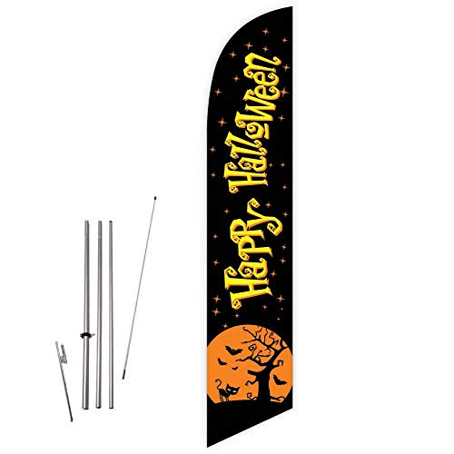 Cobb Promo Happy Halloween (Black) Feather Flag with Complete 15ft Pole kit and Ground Spike ()