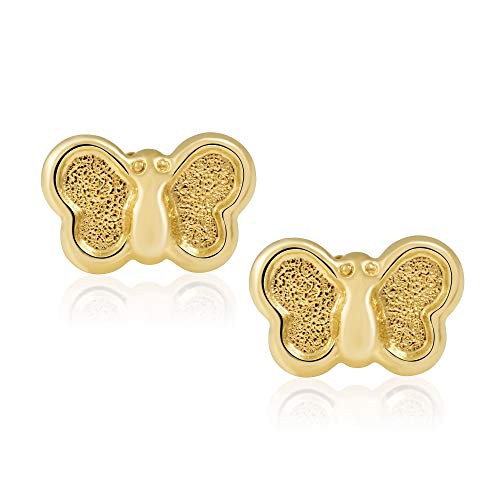 (14KT Yellow Gold Children's and Baby Girls' Butterfly Stud Earrings - Charming with Secure Screw Back Safety Closure)