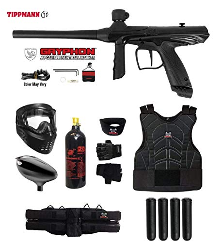 MAddog Tippmann Gryphon Starter Protective CO2 Paintball Gun Package - Onyx Black ()