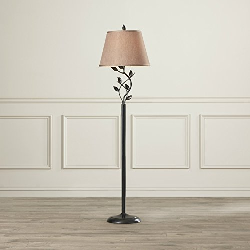 58-Inch Tall Floor Lamp with Leaf Design Stand & Gold Empire Shade (58 Tall Floor Lamp)