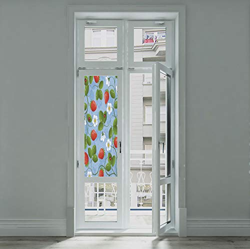 C COABALLA Frosted Window Film Stained Glass Window Film,Ladybugs,Work Well in The Bathroom,Strawberries Daisies and Ladybugs Looks Like Ivy -