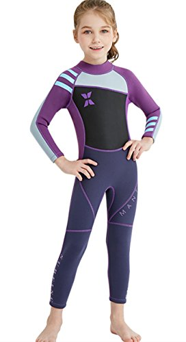 Kids Girls Summer UV Full Body Sun Protection Swimsuit Professional Diving Suit Wetsuit Thermal Quick Dry Suit Purple