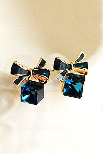 KENHOI Beauty unique creative bow crystal earrings earings dangler eardrop women girls short fashion personality ear jewelry