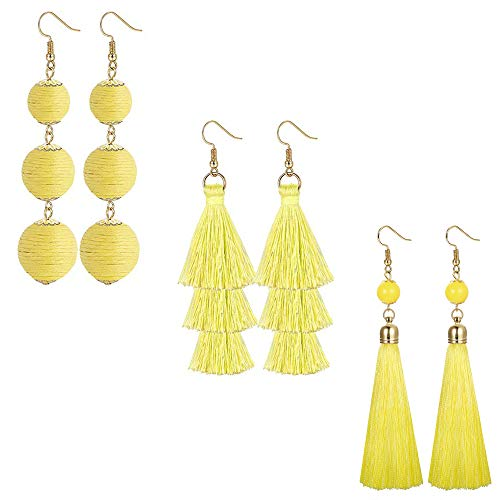 LOLIAS 3 Pairs Long Thread Tassel Earrings Set for Women Girls Beaded Fringe Tassel Earrings Gradient,Yellow ()