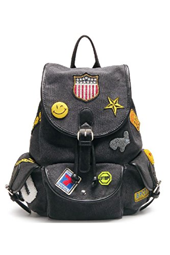Womens Black Canvas Patch Fun School 33 Backpack H160707 Backpack 141Cq