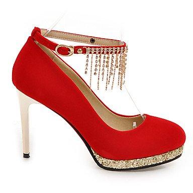 Talones de las mujeres Zapatos Primavera Verano Otoño Invierno Fleece club banquete de boda y vestido de noche del tacón de aguja espumoso cadena del brillo Negro Rojo Red