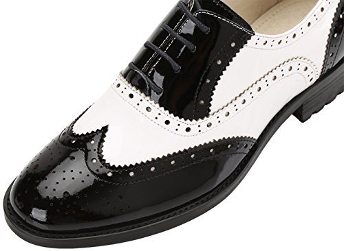 Simplec Scarpe Stringate Piatte In Pelle Con Motivo Traforato In Pelle Multicolore Vintage Comode Scarpe Da Ufficio Bianche-nere