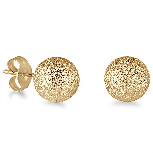 14K Yellow Gold 7mm Laser Cut Ball Stud Earrings - Earrings Ball Yellow 7mm Gold