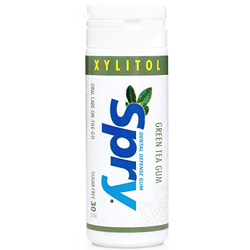 Xylitol Green Tea Gum - Spry Xylitol Gum, Natural Green Tea, 30ct