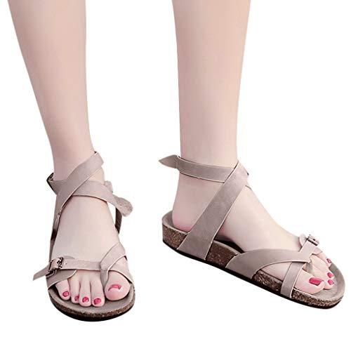 WEISUN Bunions Sandals Retro Womens Fashion Flats Sandalsladies Slippers Beach Roman Sandals Flip Flops Shoes Beige