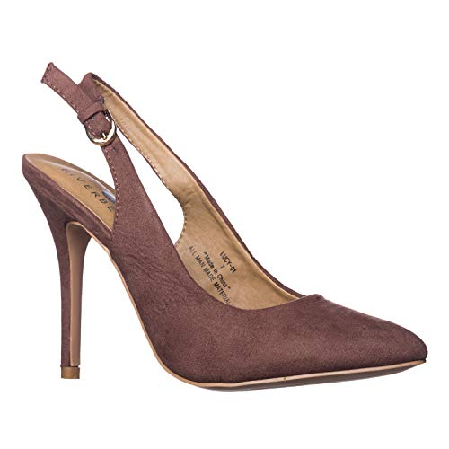 - Riverberry Women's Lucy Pointed-Toe, Sling Back Pump Stiletto Heels, Brown Suede, 9